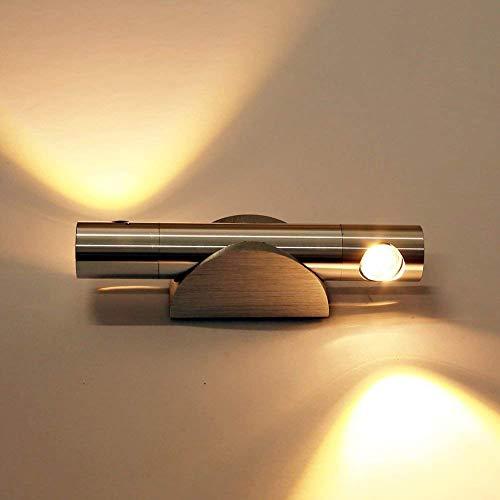 ETiME LED Wandleuchte 6W Wandlampe Flurlampe Wandleuchte 360° drehbar Wandlicht Lampe Leuchte Badleuchte aus Aluminium Effektlampe Treppenhaus(6W warmweiß) (Einzelne Zeile 50 Led-licht Bar)