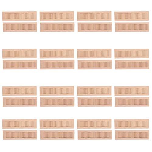KESOTO 32 Stück 1/12 Puppenhaus Möbel, Mini Holz Jalousie Fenster Fensterläden, Puppenstube DIY Zubehör (Holz-mini-jalousien)