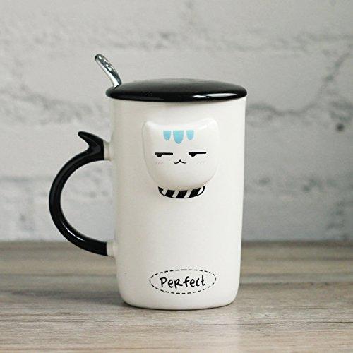 Paar Tassen ein paar 3D-Kaffee Tasse Becher/trend Koreanische Version der Becher mit Deckel Löffel cute Coffee Mug/Frühstück Milch Schale/Büro Tasse/Becher/männliche Modelle Funny Cat B - B Becher Modell