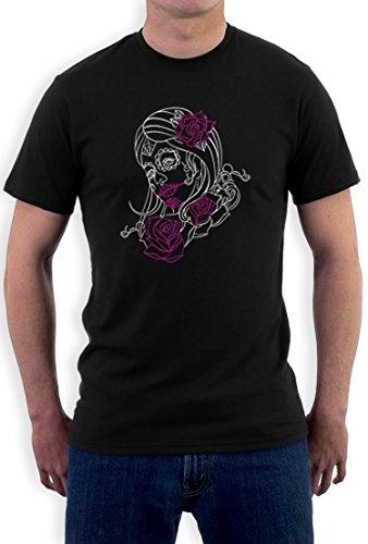 stripe Motiv T-Shirt XXXXX-Large Schwarz (Sugar Skull Kostüme Ideen)