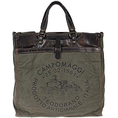 Campomaggi la cartera de la lona y cuero C3803 Castagno bolsa de negocios con la caja del ordenador portátil bolsa de ordenador portátil Grigio Gray