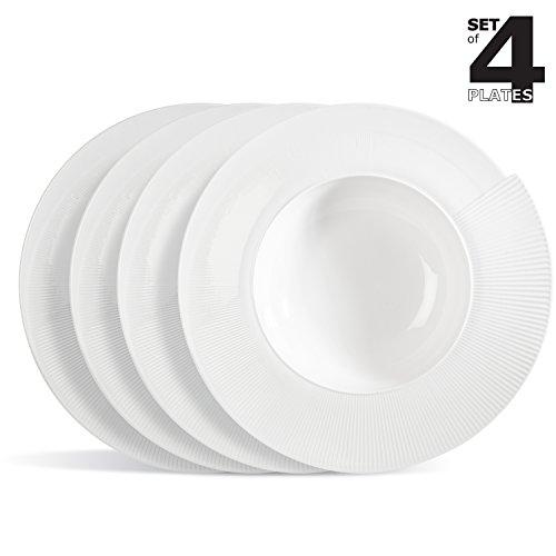 '4 X Assiette à pâtes/Assiette à salade/assiette en porcelaine/Assiettes creuses en forme de coquillage en porcelaine \
