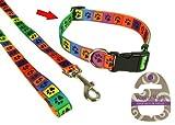 Rosewood 03667 Wag-n-Walk weitenregulierbares Halsband im Pfoten-Design, bunt