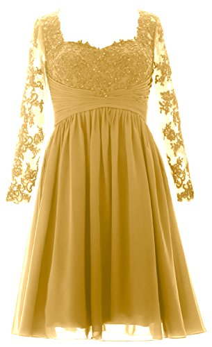 MACloth Vintage Long Sleeves Mother of Bride Dress Short Evening Formal Gown gold