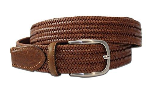 volleder intrecciato Braided Stretch cintura. Pelle bovina con speciale tecnologia di elastico Stretch. Made In Italy. Cintura in pelle intrecciato Braun / Cognac Large