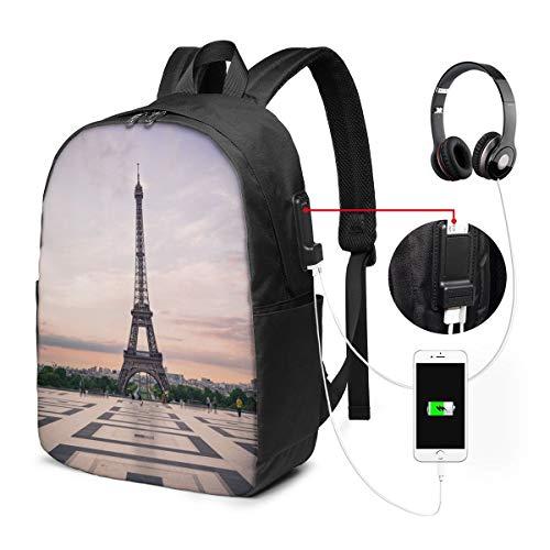Nicokee Rucksack mit USB-Ladeanschluss Paris City Trocadero und Eiffelturm bei Sunshine Paris Skyline Sportrucksack, Schule, Büchertasche, 43,2 cm (17 Zoll) für Damen und Herren