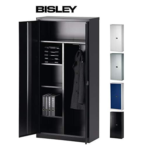 Bisley Aktenschrank | Garderobenschrank | Kleiderschrank aus Metall abschließbar | in 4 Farben (Schwarz)