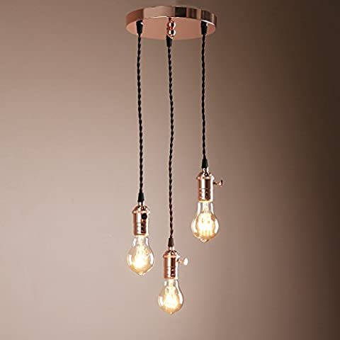 Buyee® Deco Cluster 1/3 Vintage Ceiling Light Antique Lampholder Hanging Lamp Retro Pendant Light with 2m Braided Ceiling Cable(bulb not included) (copper finish)