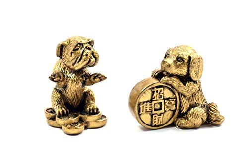 2018Chinesisches Sternzeichen Jahr der Hund Chinesisches Sternzeichen handgefertigt Paar Kunstharz Hund mit Medaille Sammlerstück Skulptur Statue Figur bronze (Paar Figur Bronze)