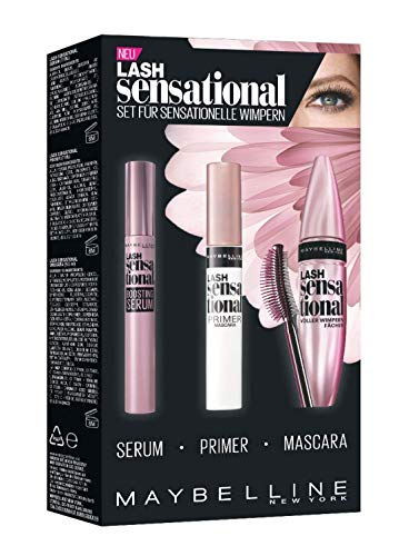 Booster Mascara (Maybelline New York Lash Sensational Routine-Set, mit Wimpernserum, Primer und Mascara)