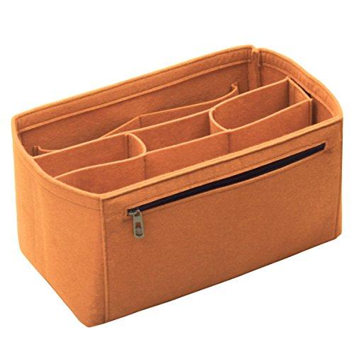 Braun Market Tote ([Passt verschiedene Taschen, L.V. Her.mes Long.champ Go.yard] Filz Tote Organizer (w/Abnehmbare Fächer), Geldbörse einfügen, Kosmetik-Make-up Windel Handtasche, Taschen)