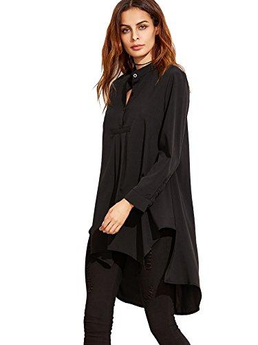 ROMWE Damen Locker Elegant Tunika Vorne Kurz Hinten Lang Langarmshirt Bluse Schwarz XS(Herstellersgröße: S)