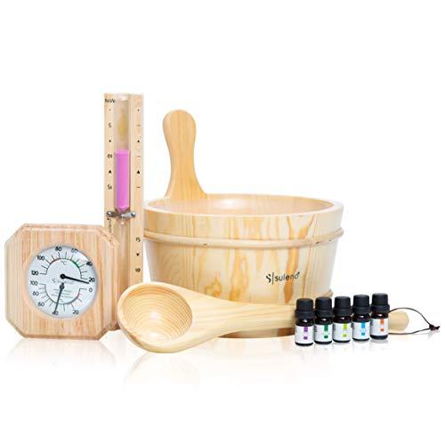 Suleno Sauna Set 10-teilig Saunazubehör Saunakelle Saunakübel Sanduhr Hygrometer Thermometer 5 x Duftkonzentrate