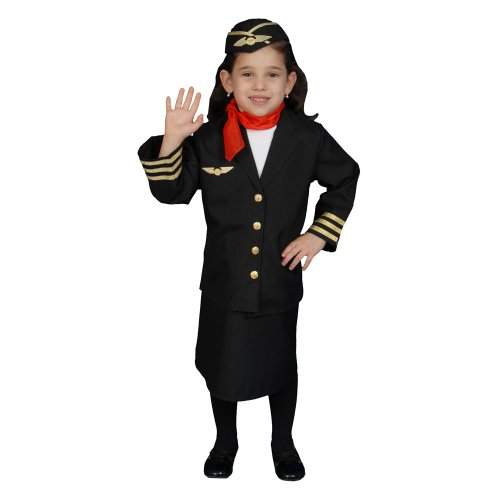 Dress Up America Mädchen Flugbegleiterin Kostüm Set
