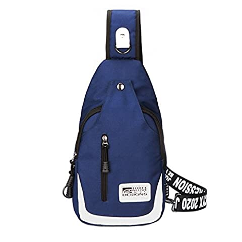 CLOTHES- Korean Version Of The Shoulder Oblique Cross Canvas Wild Fashion Leisure Travel Bag Man Chest Bag ( Color : Blue )