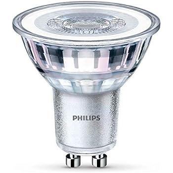Philips - Bombilla LED Foco GU10 Cristal, 4.6 W Equivalente a 50 W, Luz Blanca Cálida, 470 Lúmenes, No Regulable - Pack de 1