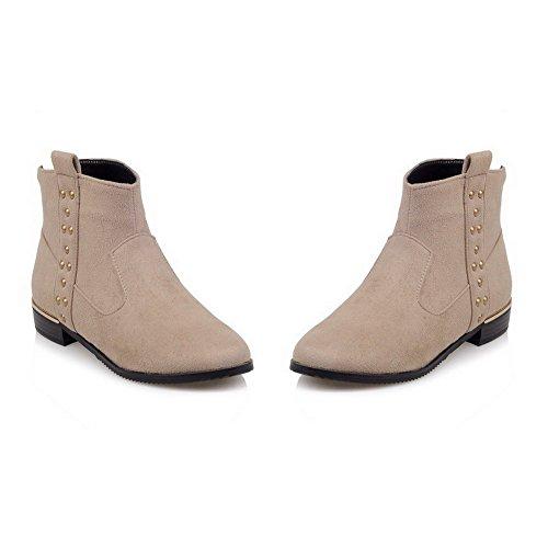 AgooLar Damen Reißverschluss Niedriger Absatz Nubukleder Rein Niedrig-Spitze Stiefel Aprikosen Farbe