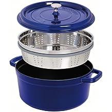 Staub 1133891 - Cocotte redonda con cesta vapor, color azul, tamaño 26 cm