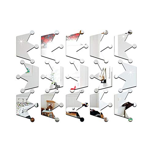 Rejoicing Kinderzimmer Wandsticker Wandspiegel Dekoration 3D umweltfreundlich Prinzessin Krone Glatt Aufkleber für Kinderzimmer Dekoration Silber