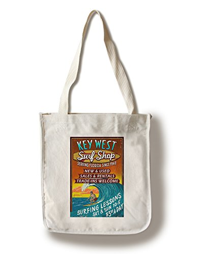 Key West, Florida - Surf Shop Vintage Schild, baumwolle, mehrfarbig, Canvas Tote Bag