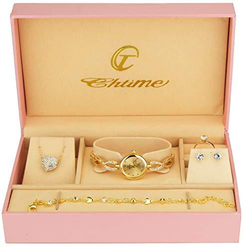 Geschenkset Damen Armbanduhr Gold- Schmuck Set- Halskette-Ring- Ohrringe - Armband