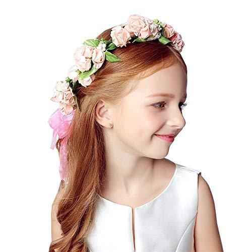 YLiansong Künstliches Blumen-Brautdiadem-Girlandenhaar-Frauenhaar mit süßem rosafarbenem Blumenkranz-Fotoatelierfeiertag Mädchen Haarschmuck (Farbe : Rosa)