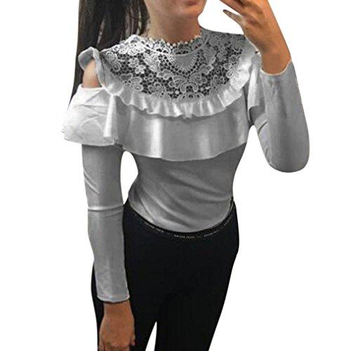 Longra Damen Sexy Bluse Elegante Blusen Spitzenbluse Weißes Hemd Damenmode Kleider Damen Schulterfreie Oberteile Festliche Tunika Blusenshirt Langarmshirt Tops (Gray, S) (Farben Grau Die Gestreift Team Des)