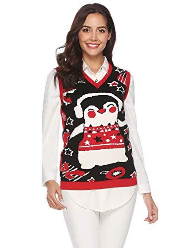Abollria Damen Pullunder Pinguin Weihnachtspullover Ärmelloser Weihnachtspulli V Ausschnitt Christmas Sweater
