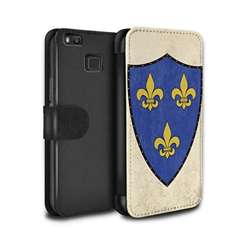 eSwish - Funda de Piel sintética con Tapa para Huawei P9 Lite/Fantasy Medieval Shield Art Collection Fleur-De-lis Crusader