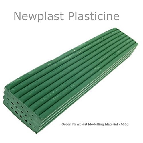 Green Newplast Plasticine Modelling Clay Animators Choice Moulding Material Non Toxic Non Hardening Bar (1 Block - 500g) by Newclay