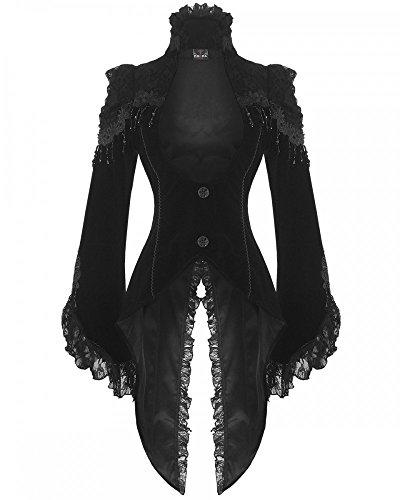 Edler Steampunk Gothic Damen Samt-Frack RQ-BL Jacke Mantel Barock (21119), (Kostüme Halloween Viktorianische Themen)