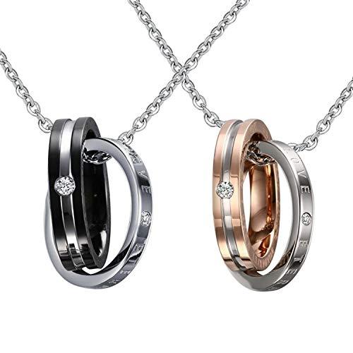 te 2 Pcs Edelstahl Doppel Ringe Anhänger Buchstben Love Herrenkette Damenkette Schwarz Rosegold mit Weiß Zirkonia ()