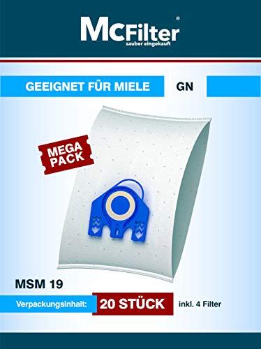 20 Staubsaugerbeutel geeignet für Miele Premium 5000 Staubsauger, Beutel mit automatischem Staubverschluss, Typ MSM 19 inkl. Filter