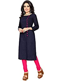 Zombom Women's Navy Blue Pure Cotton A-line Plain Kurti
