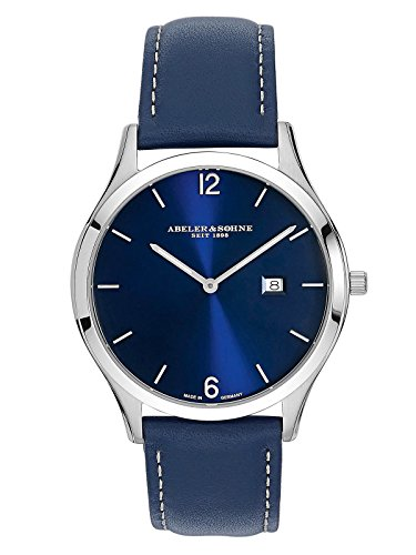 Abeler & Söhne Reloj de hombre fabricado en Alemania con cinta de piel, cristal de zafiro y fecha as3017