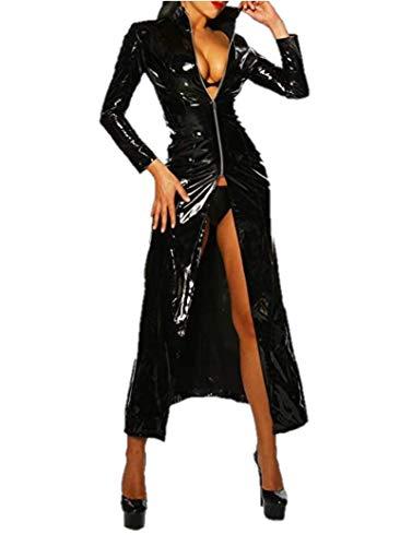 Alvivi Damen Catsuit Wetlook Frauen Dessous-Catsuit Catwoman Kostüm Leder Optik Gothic Kleider Mantel Cape Clubwear Cosplay DS-Kostüm Schwarz XL