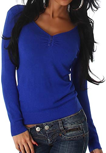 Luxestar Damen Stretch Pullover Langarm-Shirt Longsleeve kurz dünn Slim-Fit figurbetont RIPP Knopfleiste Knöpfe einfarbig V-Ausschnitt, Blau Stretch-damen-sweatshirt