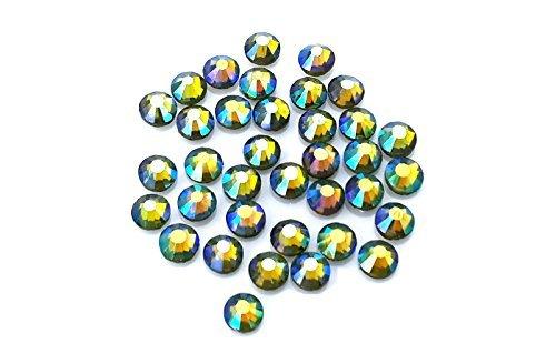 trasssteine, Glas-Diamanten, Kristalle, Edelsteine, Paket mit 1.440Kristallen,  mit klebender Rückseite zum Heißkleben, Olivine AB, 4 mm (Paket Lieferung Kostüm)