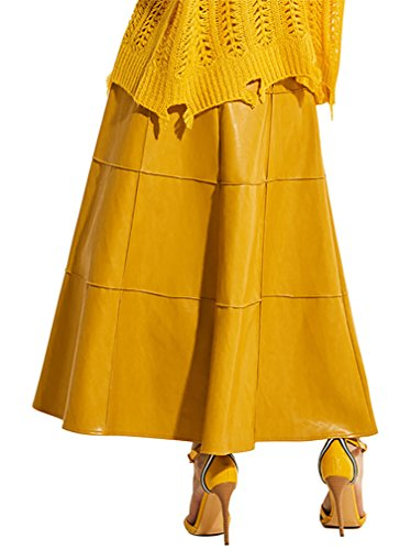 Kimring Women's Retro Vintage PU Faux Leather High Waist A-line Maxi Swing Skirt Giallo
