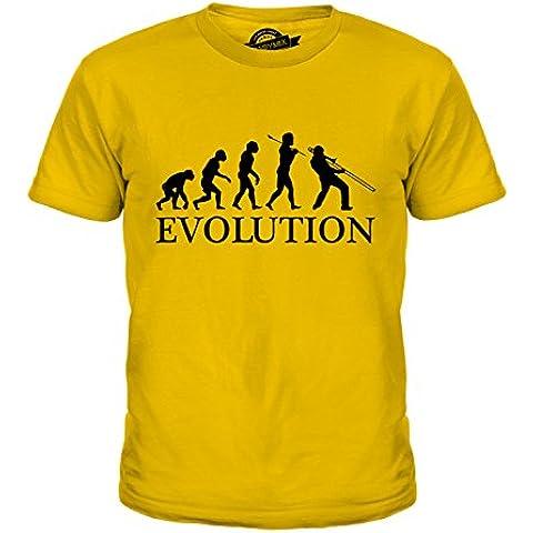CandyMix Trombone Jazz Evoluzione Umana Unisex Bambino Ragazzi/Ragazze T-Shirt