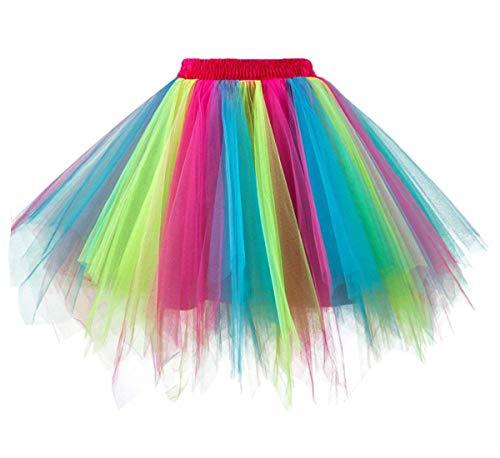 GirstunmBrand Damen 50er Vintage Tüllrock Petticoat Mehrfarbig Bubble Tanzkleid Rock Regenbogen-L/XL (Rock Konzert Kostüm)