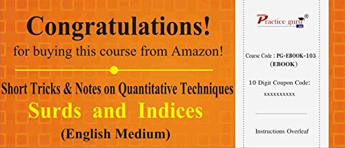 Practice Guru Short Tricks and Notes on Quantitative Techniques - Surds and Indices (Email Delivery in 2 Hours) (Activation Key Card)