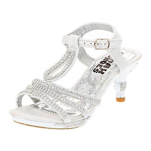 Festliche Mädchen Pumps Sandalen Absatz Glitzer Mädchenschuhe in vielen Farben M318ws Weiß Gr.24 (Weiße Für Jungen Schuhe Kommunion)