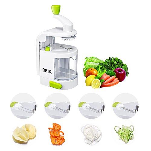 Cortador de verduras, Deik Espiralizador Vegetal, MultiFunción de Alimentos 4 Cuchillas, Espiralizador de Picar Frutas, Verduras, Zanahorias, Cebollas, para la Salsa, Ensalada