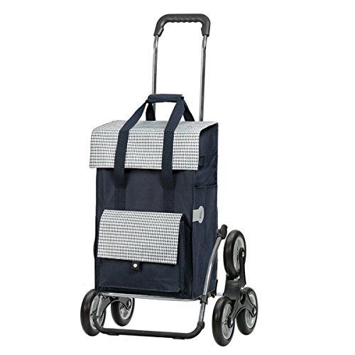 Andersen Einkaufstrolley Royal als Treppensteiger und Einkaufstasche Milla Blau 49 Liter Einkaufswagen Stahlgestell klappbar