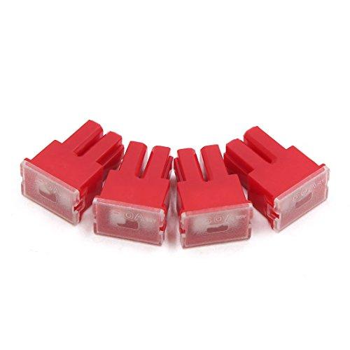 sourcing map 4Pc 32V 50A Boîte Plast Rouge Cartouche PAL Femelle Fusible pour Véhicule Auto