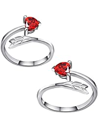 Om Jewells Rhodium Plated Blush Red Love Heart Arrow Adjustable Toe Ring Made with Cz Stone for Women TR10001008