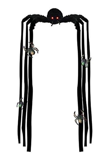 Dildoridoo - Halloween Dekoration Hängedeko Riesen Spinnen leuchtende Augen- Bewegende Beine Party, 1 Stück, 40x35x96cm, Schwarz