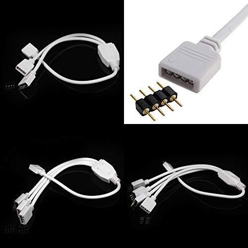 1 bis 2 3 4 Wege Teiler Splitter Kabel 4 Polig Schnell Verbindung Verlängerung Anschluss Daten Kabel Draht mit 4 Polig Connector für RGB SMD LED Licht Fee Beleuchtung Stripe Streifen (1 bis 2 Wege) (Licht Teiler)