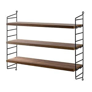unbekannt string wandregal pocket walnuss schwarz amazon. Black Bedroom Furniture Sets. Home Design Ideas